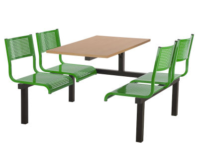 4 Person Single Access Metal Fast Food Seating Unit With Green Seats And Beech Table Top