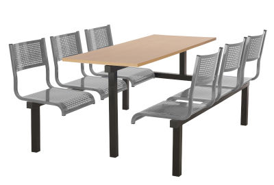 6 Person Single Access Metal Fast Food Seating Unit With Silver Seats And Beech Table Top