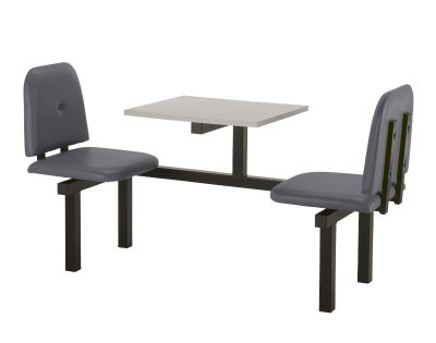 2 Person Single Access Buttoned Bench Seating Dining Unit With Grey Vinyl Seats And Grey Top