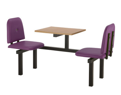 2 Person Single Access Buttoned Bench Seating Dining Unit With Purple Vinyl Seats And Beech Top