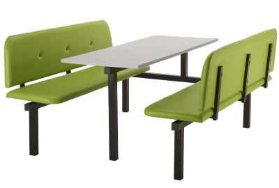 6 Person Single Access Buttoned Bench Seating Dining Unit With Green Vinyl Seats And Grey Top