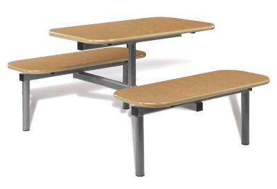 Fast Food Canteen Dining Bench - Oak Top