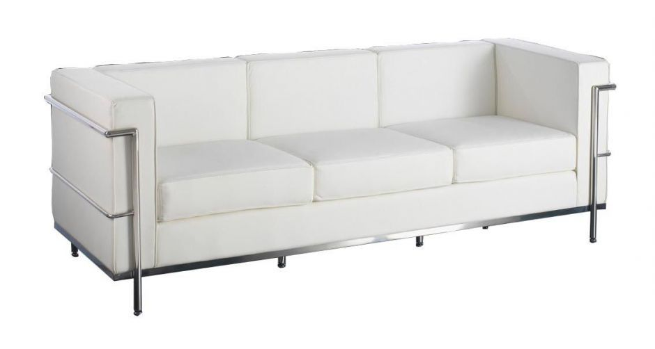 Cubic Style Leather Sofa - White Leather