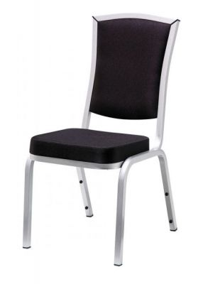 Executive-Banqueting-Chair-with-Black-Seat-and-Silver-Finish