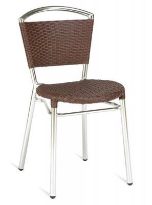 Outdoor-Aluminium-Chair-with-Brown-Weave-Seat-and-Back