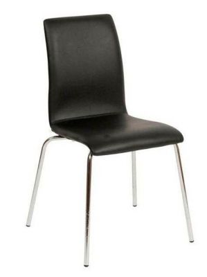 Quality-Faux-Leather-Cafe-Chair-High-Back-Chrome-Frame