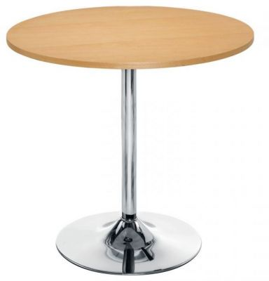 Complete-Cafe-Table-Beech-Top-Chrome-Trumpet-Base-800mm-Round