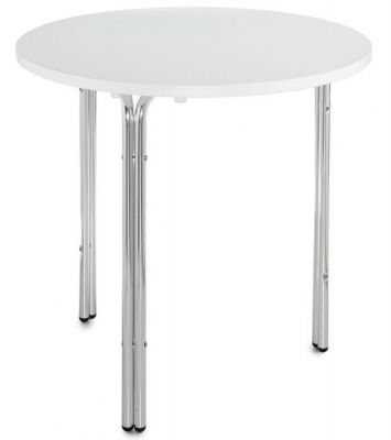 White Top Round MFC Table Three Chrome Legs