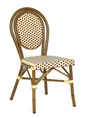 Red-and-Cream-Weave-Outdoor-Chair-Bamboo-Frame