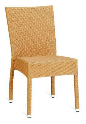 Beige Finish Weave Outdoor Sidechair