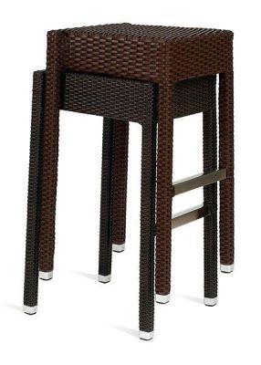 Stacking-Black-Weave-High-Stool-Outdoors