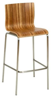 Zebrano-Seat-Wood-Bar-Stool-with-Silver-Frame