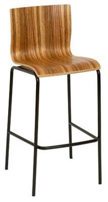 Classic-Wood-Seat-Bar-Stool-Zebrano-Seat-Black-Metal-Frame