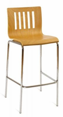 Contract-Beech-Seat-Bar-Stool-with-Silver-Frame
