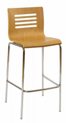 Beech-Wood-Seat-Bar-Stool-with-Silver-Framework
