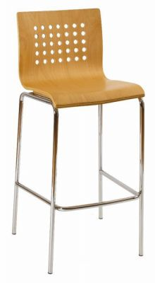 Beech-Bar-Stool-with-Decorative-Holes-Chrome-Frame