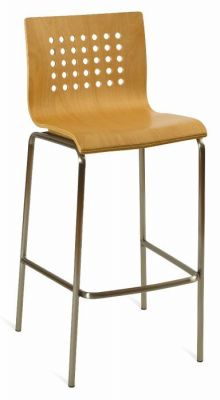 Stylish-Bar-Stool-with-Beech-Seat-and-Silver-Finish-Frame