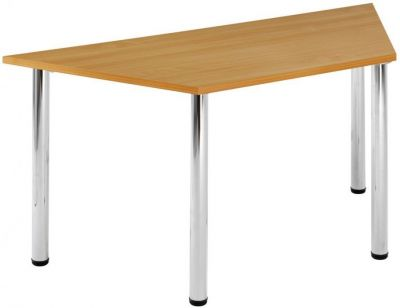 Trapezoid-Shape-Canteen-Table-MFC-Top-and-Chrome-Tubular-Legs