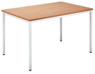 Canteen-Table-Rectangular-Wide-Beech-Top-Silver-Frame