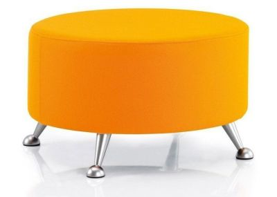 Custom Upholstered Low Breakout Stool Silver Feet