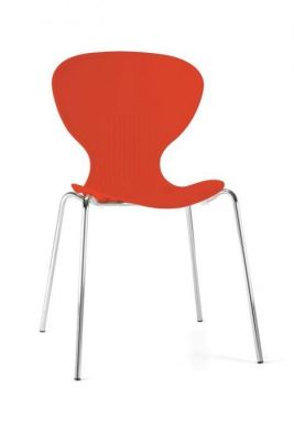 Red Colour Polypropelene Cafe Chair