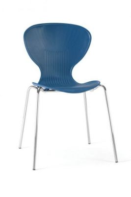 Blue Colour Poly Chair Round Back And Seat