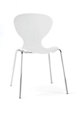 White Plastic Chair Round Back Chrome Frame