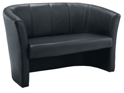 Reception Two Seat Black Leather Faced Sofa