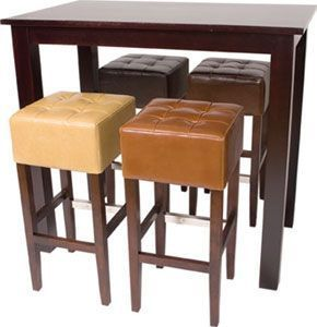Walnut Poseur Table And Leather Upholstered Bar Stools Wood Frame
