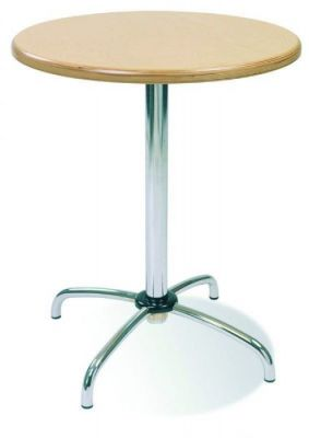 Single Column Cafe Table Base With Four Feet Chrome Silver Or Aluminium