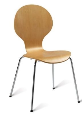 Beech Plywood Cafe Chair Round Back Chrome Legs