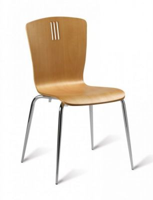 Beech Wood Bistro Chair Stylish Back Chrome Legs