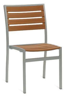 Outdoor Teak Slat Sidechair With Thick Aluminium Frame