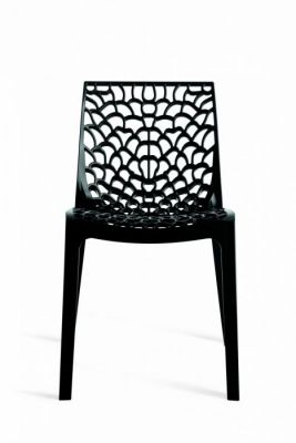 Black Designer Polypropelene Plastic Chair
