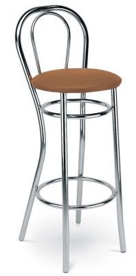 Chrome Wire Frame Bar Stool Padded Seat Vinyl