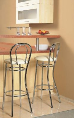 Bar Stools Chrome Frame Round Cushion Seat