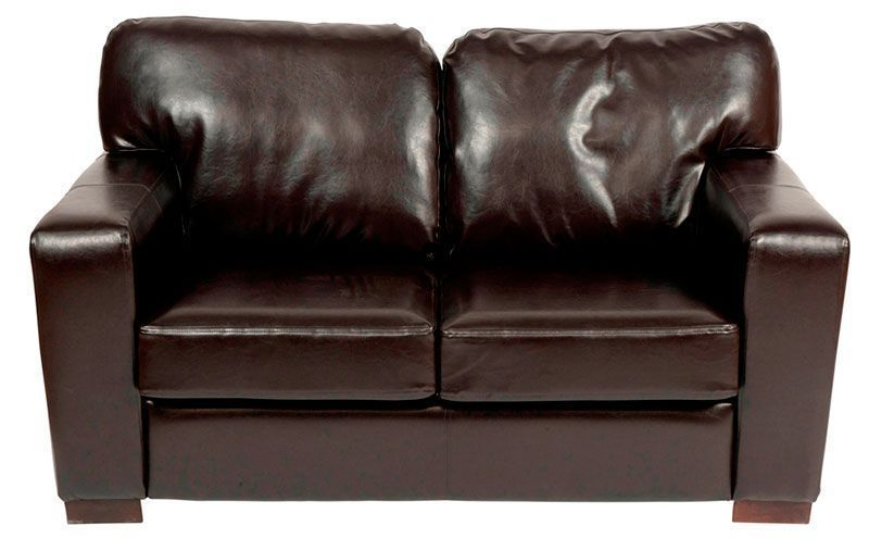 Three Seat Dark Brown Chocolate Finish Leather Sofa Chunky Two