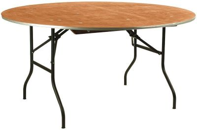 Large Round Plywood Outdoor Table Folding Black Steel Frame
