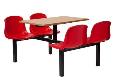 Bright Red Seat Fast Food Seating Unit With Joining Table