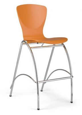 Orange Shell Contemporary Barstool Chrome Frame