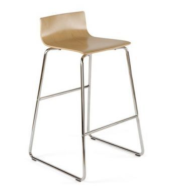 Designer Stool With Chrome Sled Base And Wood Finish Seat