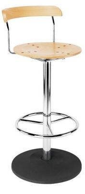 Pedestal Base BarStool Round Wod Seat And Back