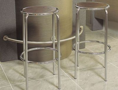 Round Chrome Frame Barstool Moulded Wood Finish Seat