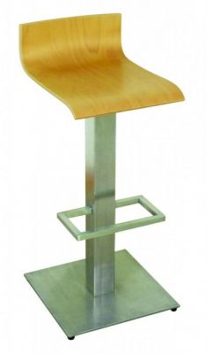 Stainless Steel Barstool Slimline Curve Moulded Wood Finish Seat