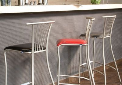Slimline Design Metal Barstool Faux Leather Seat