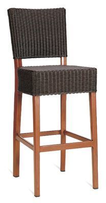 Espresso-Colour-Rattan-Stool-with-Teak-Wood-Frame