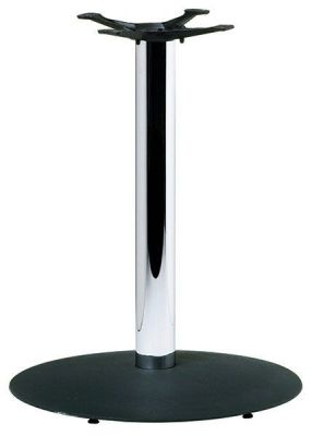 Cafe-Table-Base-with-Black-Round-Base-Chrome-Column
