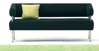 Designer-Sofa-with-Upright-Chrome-Column-Supports