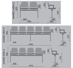 Dimensions For Beam Seating Plywood With Upholstered Seat And Back