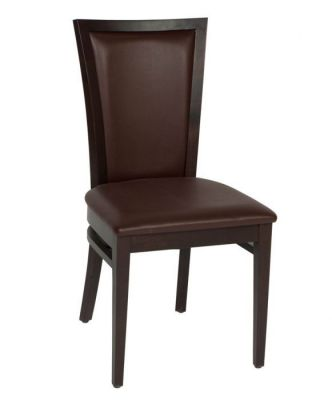 Wooden-Dining-Chair-Walnut-Wood-frame-and-brown-leather-upholstered